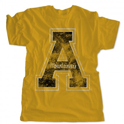 Weathered Appalachian State Block A Gold T-Shirt